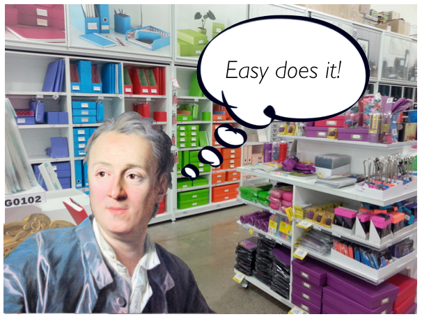 18th century philosopher Denis Diderot pondering his stationery consumption