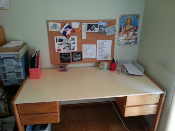 My technology free desk - a space to play and create!